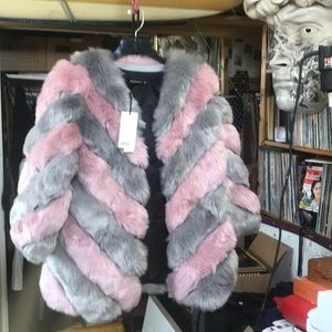 Jackets & Blazers - Fake Fur Fiasco! 4XL Pink /Sliver Grey Stripes